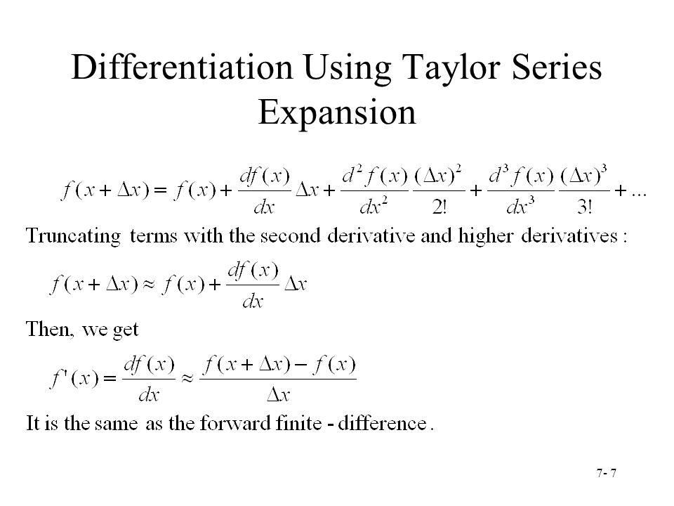 Differentiation Using Taylor Series Expansion