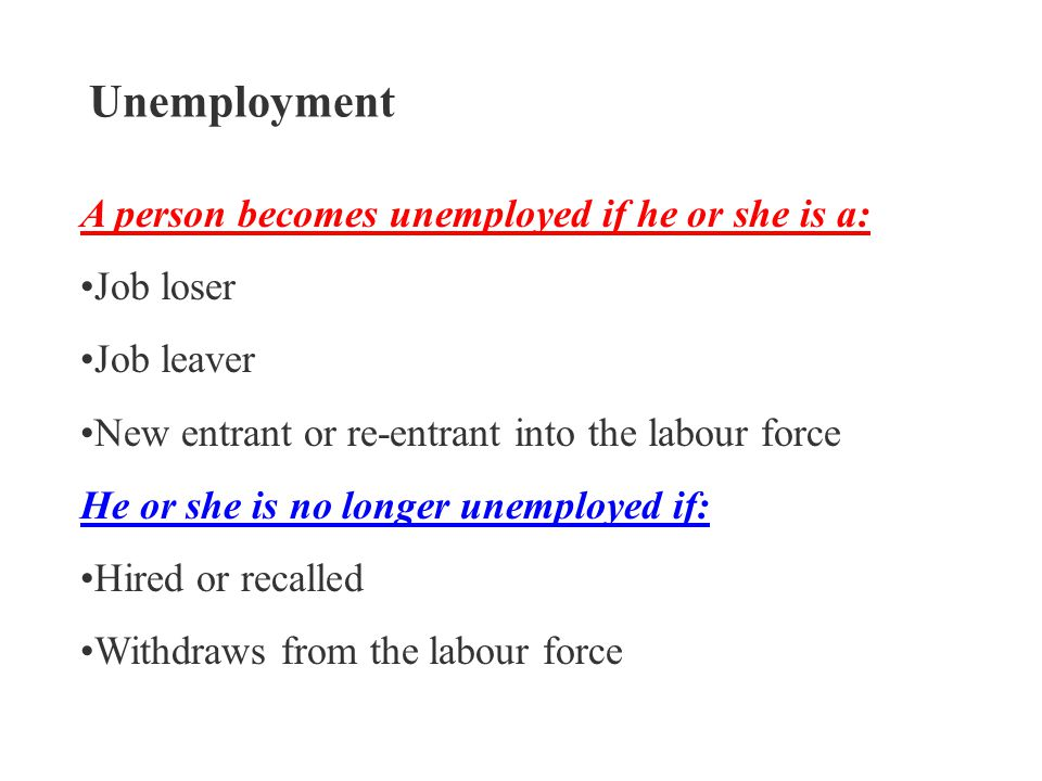 Unemployment A person becomes unemployed if he or she is a: Job loser