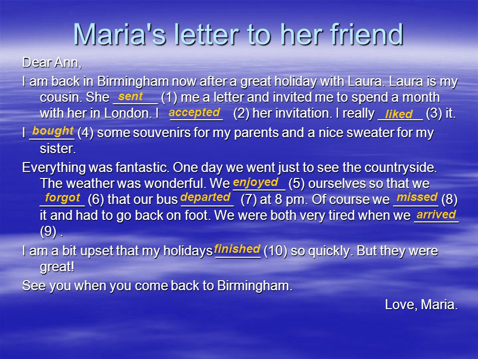 Maria s letter to her friend