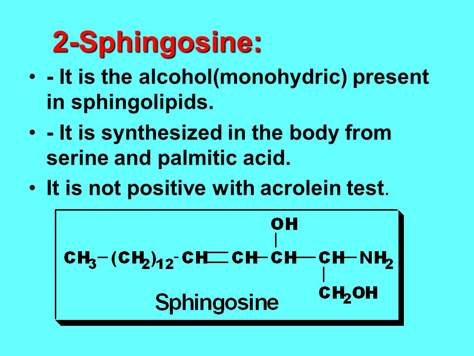 2-Sphingosine: - It is the alcohol(monohydric) present in sphingolipids. - It is synthesized in the body from serine and palmitic acid.