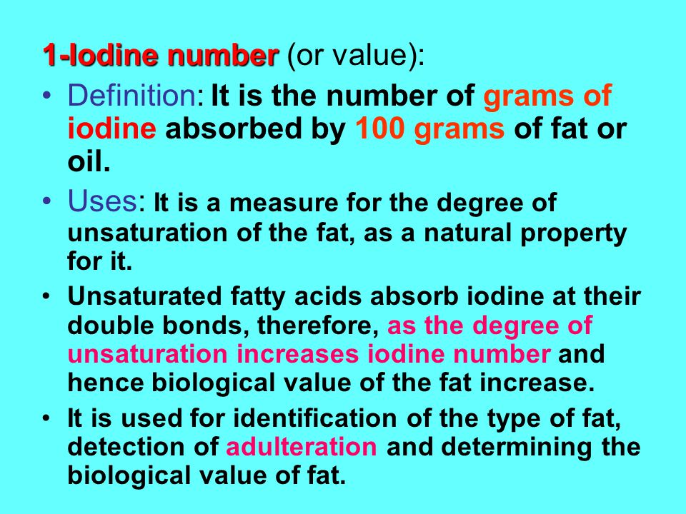 1-Iodine number (or value):
