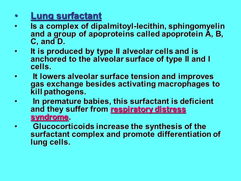 Lung surfactant Is a complex of dipalmitoyl-lecithin, sphingomyelin and a group of apoproteins called apoprotein A, B, C, and D.