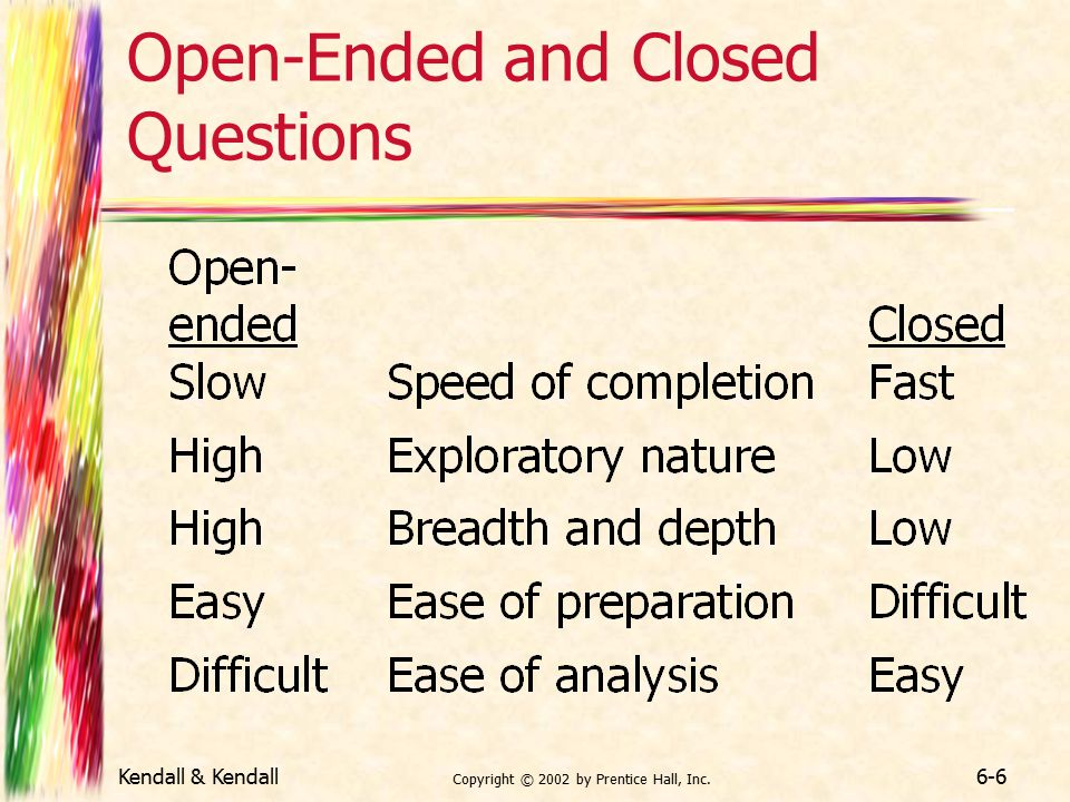 open ended ques Keep track of the header you give to each ques-tion a good way to do this is to take a blank • if an open-ended response is incomplete.
