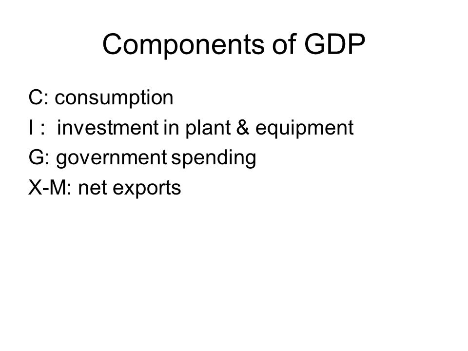 Components of GDP C: consumption I : investment in plant & equipment