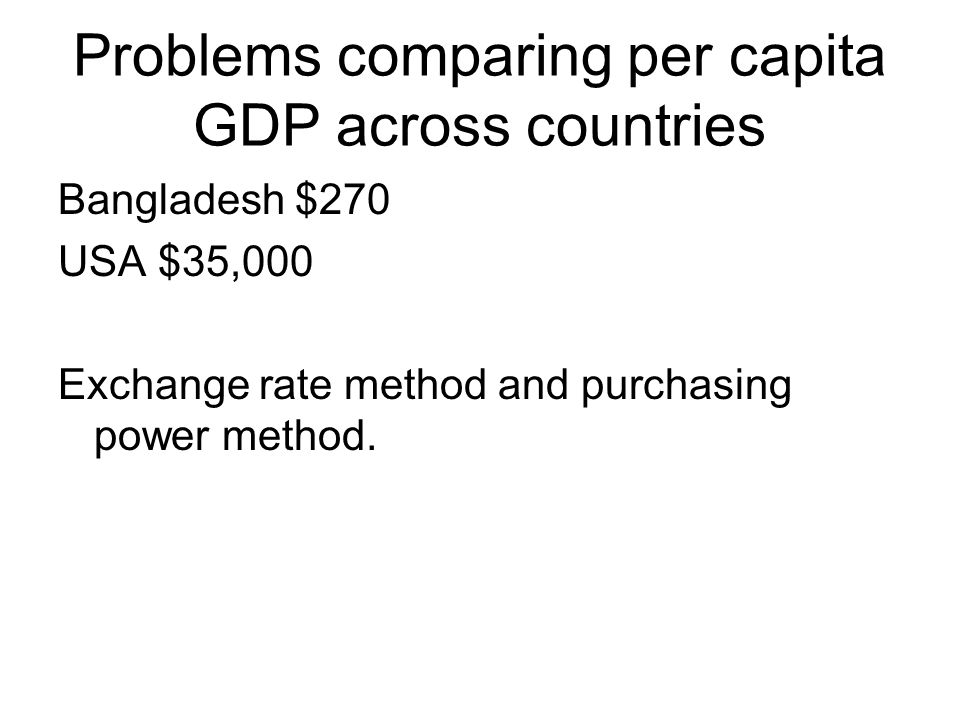 Problems comparing per capita GDP across countries