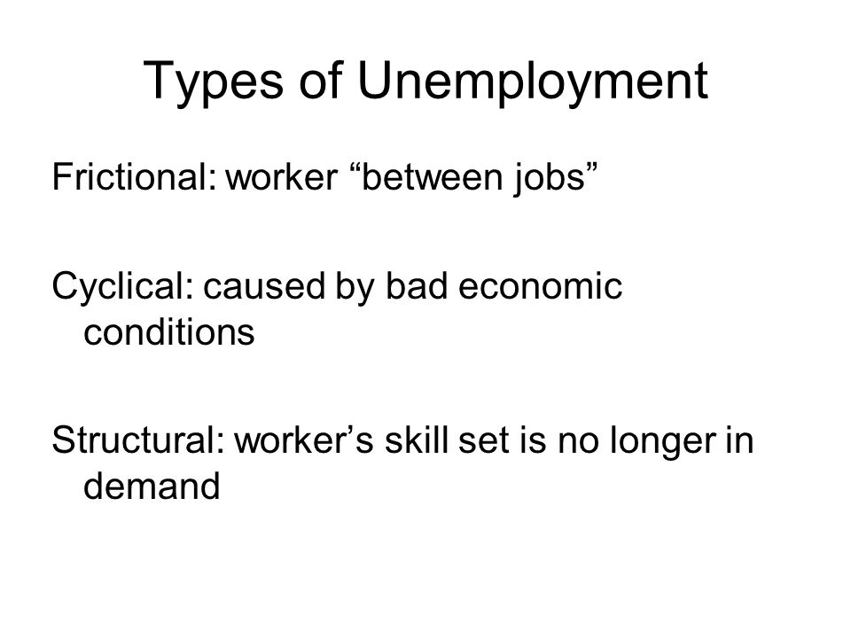 Types of Unemployment Frictional: worker between jobs