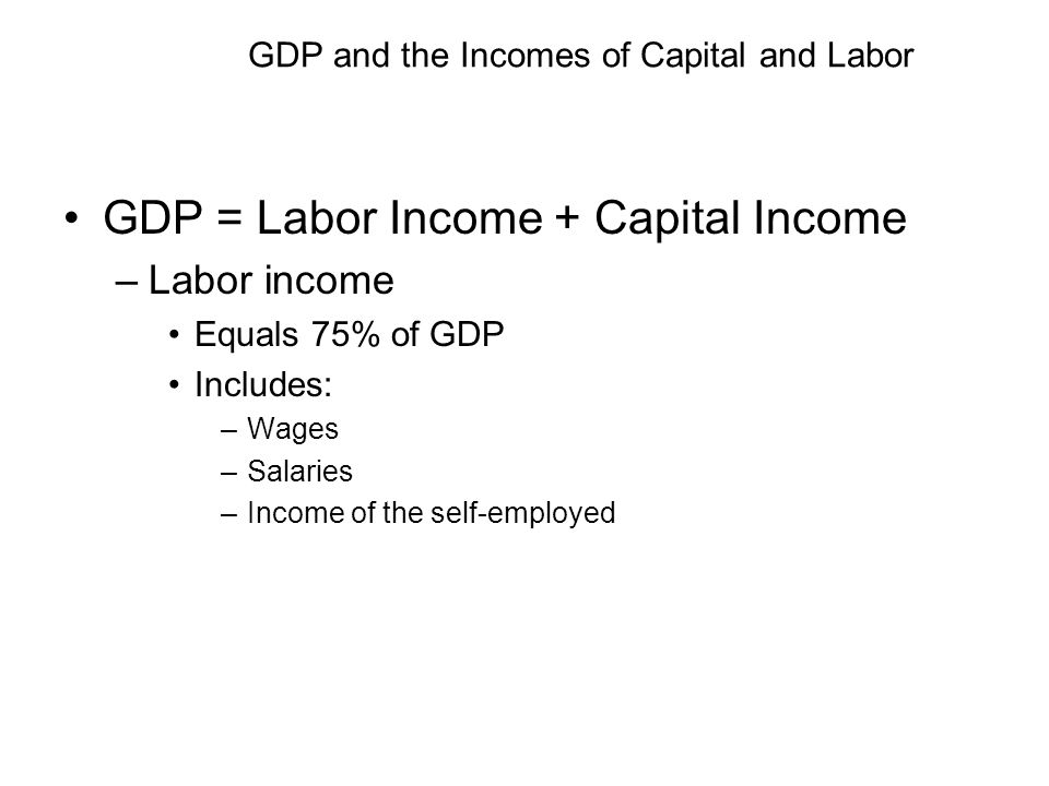 GDP and the Incomes of Capital and Labor