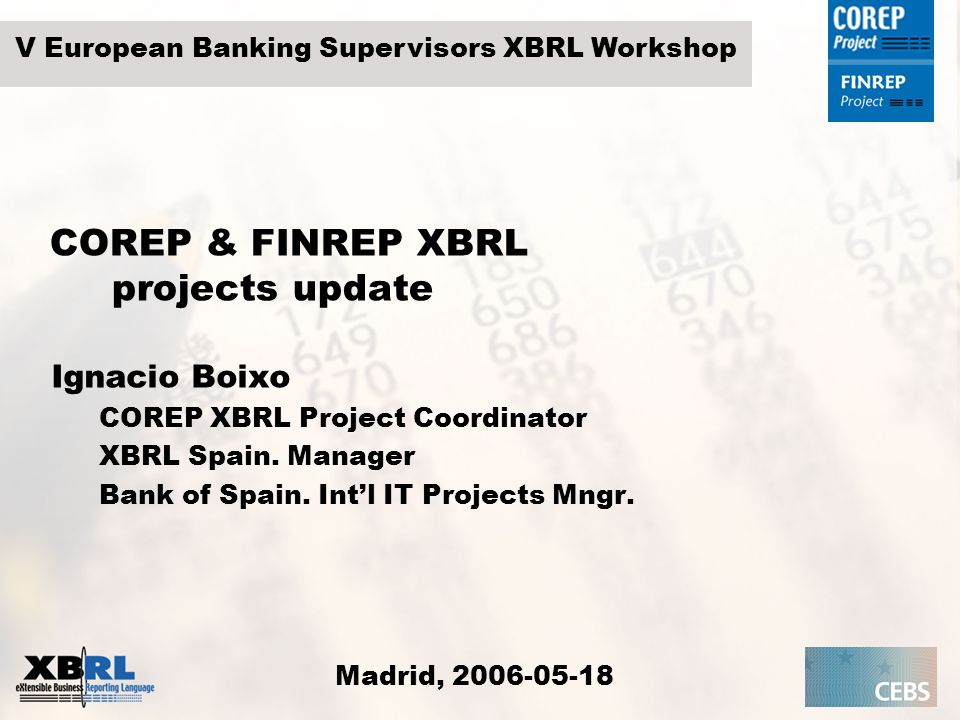COREP & FINREP XBRL projects update
