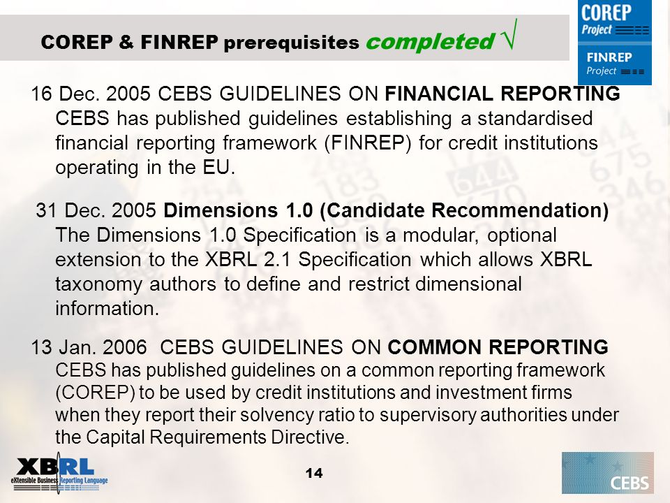 COREP & FINREP prerequisites completed √