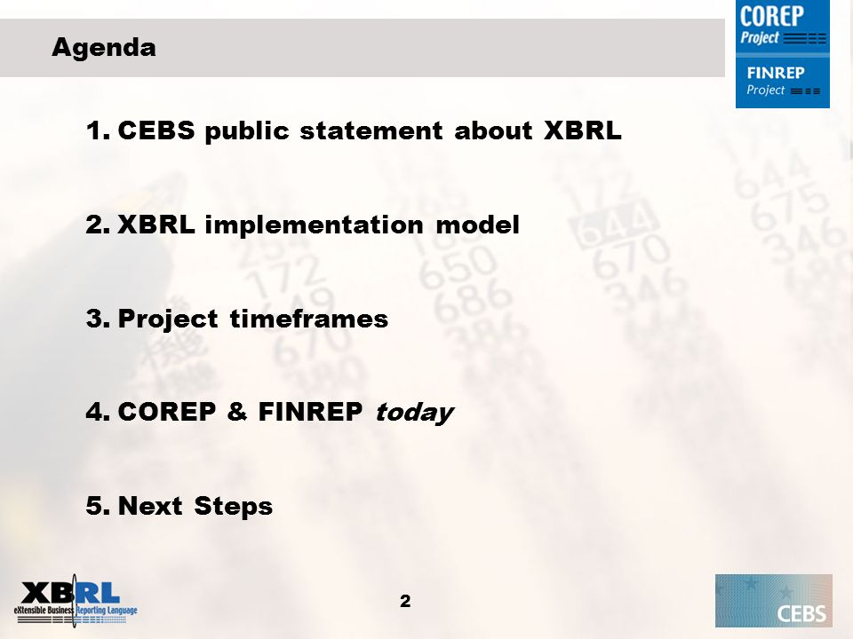 Agenda CEBS public statement about XBRL. XBRL implementation model. Project timeframes. COREP & FINREP today.