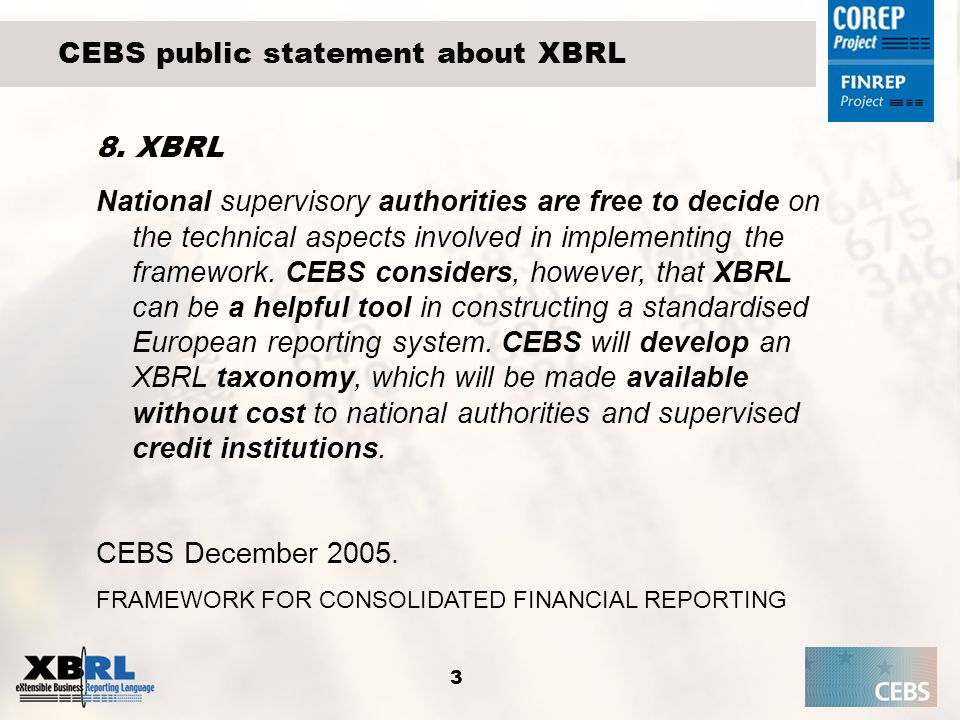 CEBS public statement about XBRL
