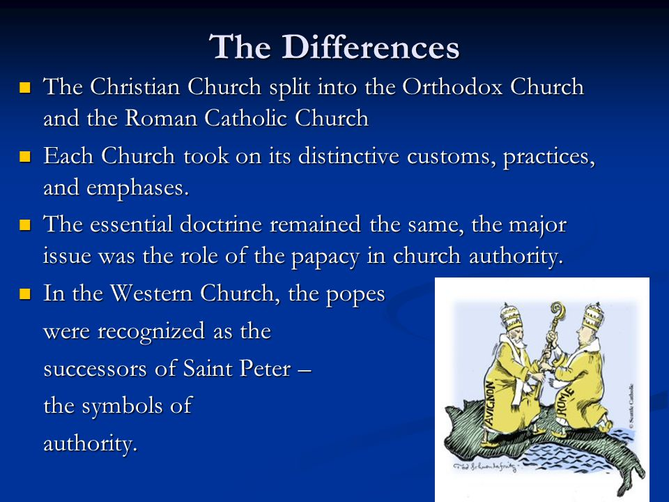 eastern orthodox christianity and its differences to the western church The greek orthodox archdiocese of america, with its headquarters located in the city of new york, is an eparchy of the ecumenical patriarchate of constantinople, the mission of the archdiocese is to proclaim the gospel of christ, to teach and spread the orthodox christian faith, to energize, cultivate, and guide the life of the church in the united states of america according to the orthodox.