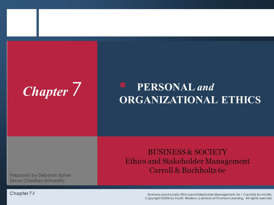 BUSINESS & SOCIETY Ethics and Stakeholder Management