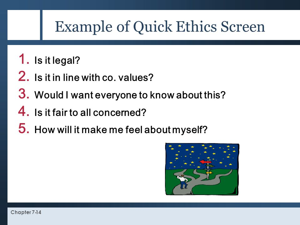 Example of Quick Ethics Screen