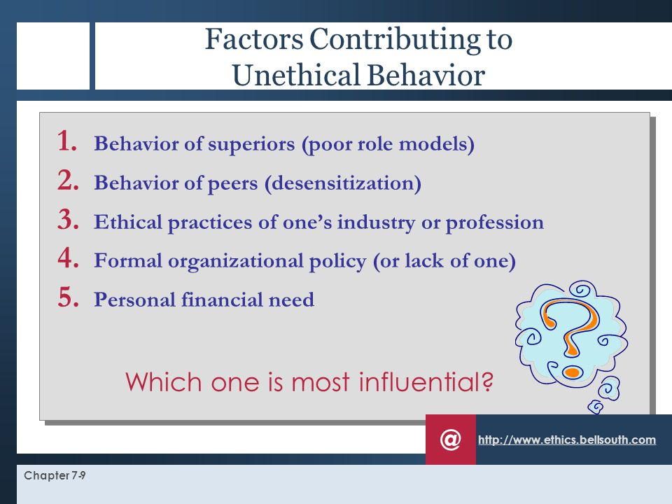 Factors Contributing to Unethical Behavior
