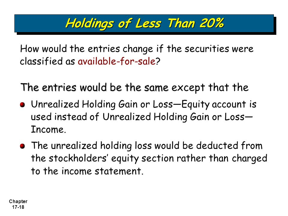 Holdings of Less Than 20% How would the entries change if the securities were classified as available-for-sale