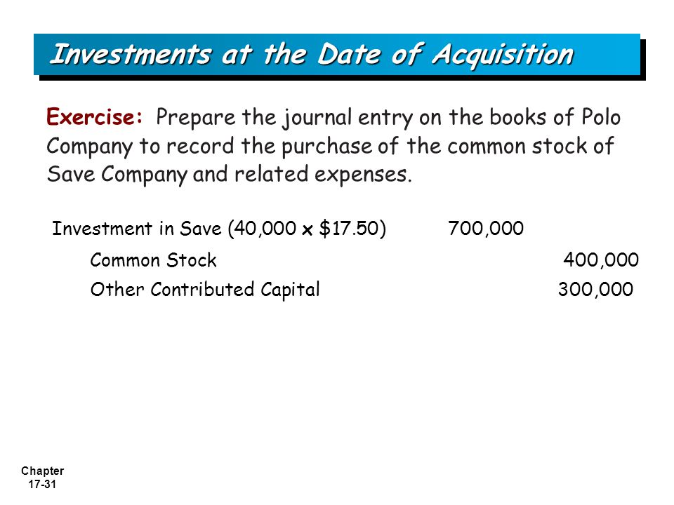 Investments at the Date of Acquisition