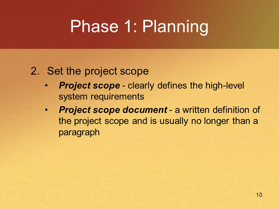 Phase 1: Planning Set the project scope