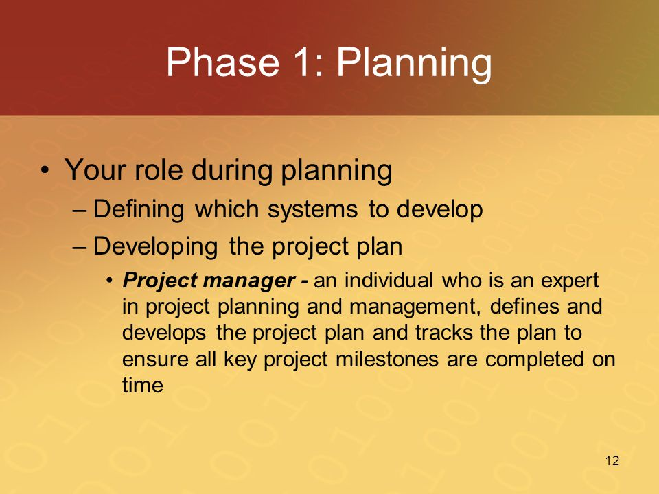 Phase 1: Planning Your role during planning