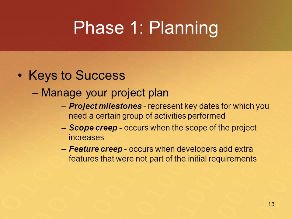 Phase 1: Planning Keys to Success Manage your project plan