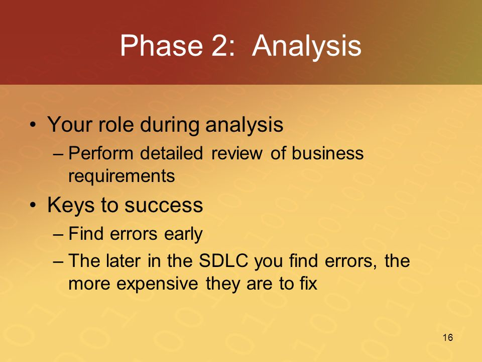 Phase 2: Analysis Your role during analysis Keys to success