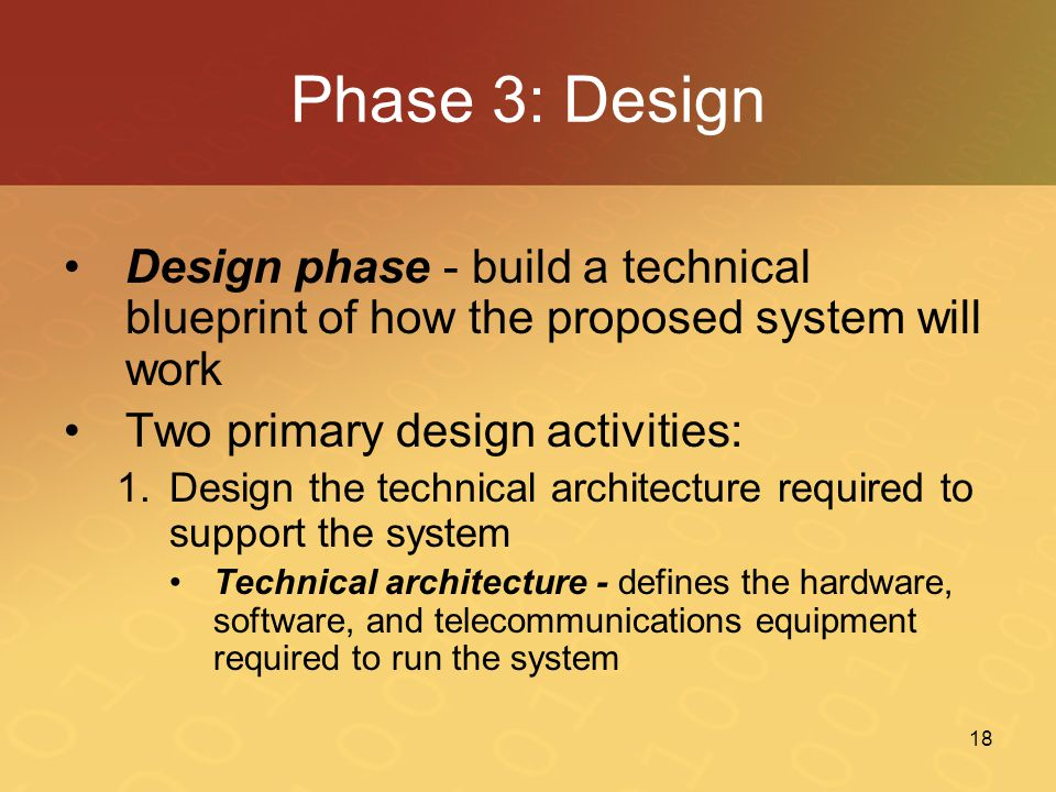 Phase 3: Design Design phase - build a technical blueprint of how the proposed system will work. Two primary design activities: