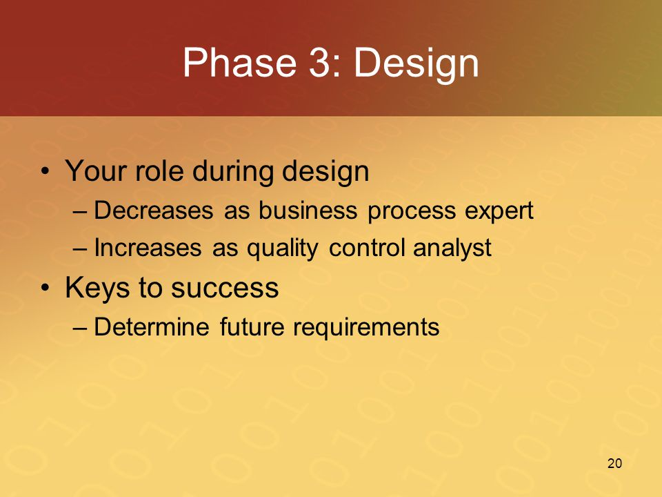 Phase 3: Design Your role during design Keys to success