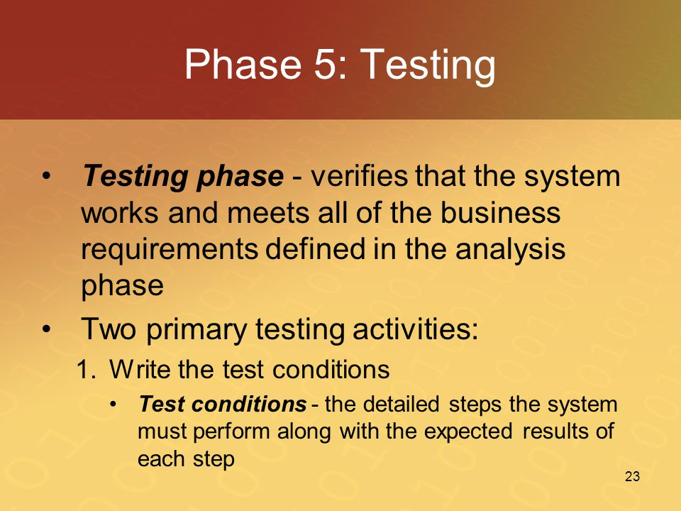 Phase 5: Testing Testing phase - verifies that the system works and meets all of the business requirements defined in the analysis phase.