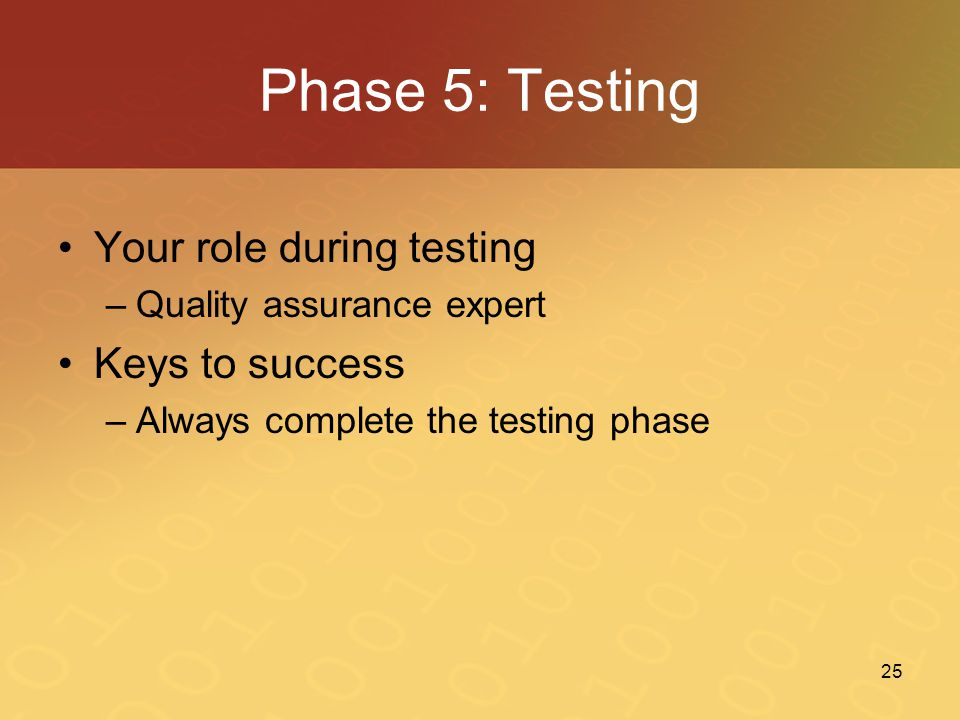 Phase 5: Testing Your role during testing Keys to success