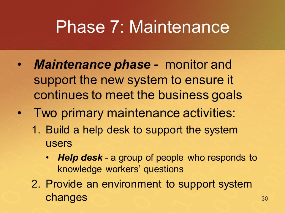 Phase 7: Maintenance Maintenance phase - monitor and support the new system to ensure it continues to meet the business goals.