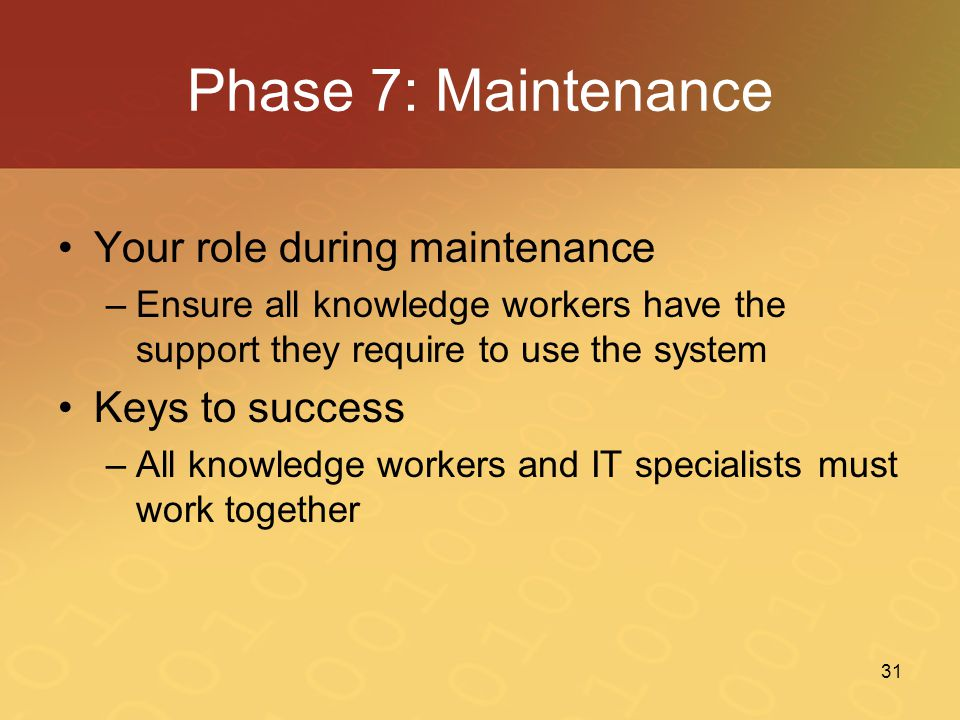 Phase 7: Maintenance Your role during maintenance Keys to success