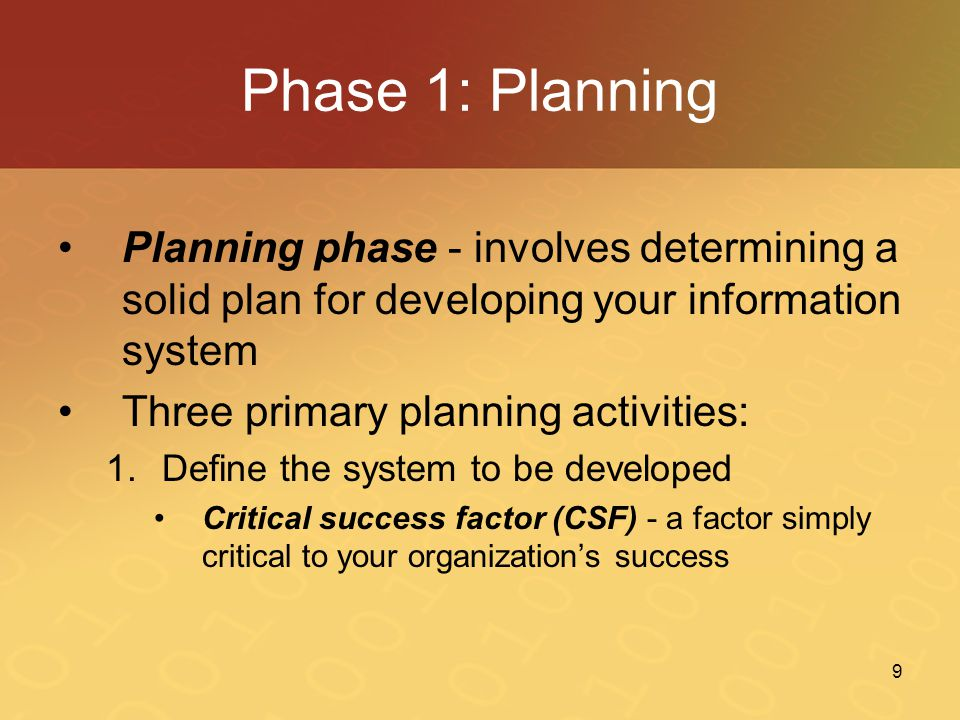 Phase 1: Planning Planning phase - involves determining a solid plan for developing your information system.