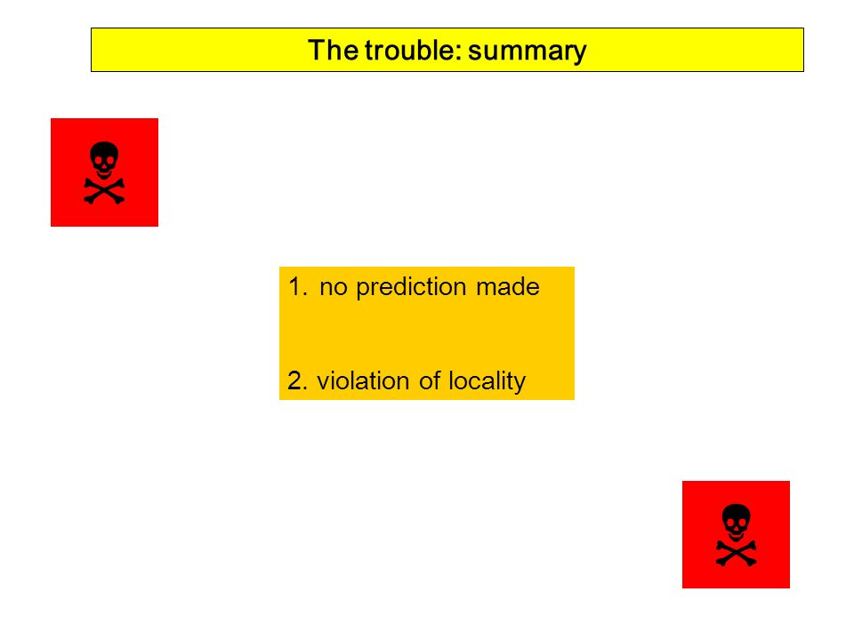 The trouble: summary  no prediction made 2. violation of locality 