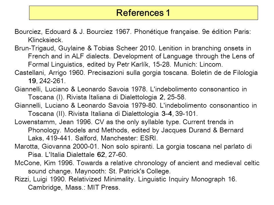 References 1Bourciez, Edouard & J. Bourciez 1967. Phonétique française. 9e édition Paris: Klincksieck.