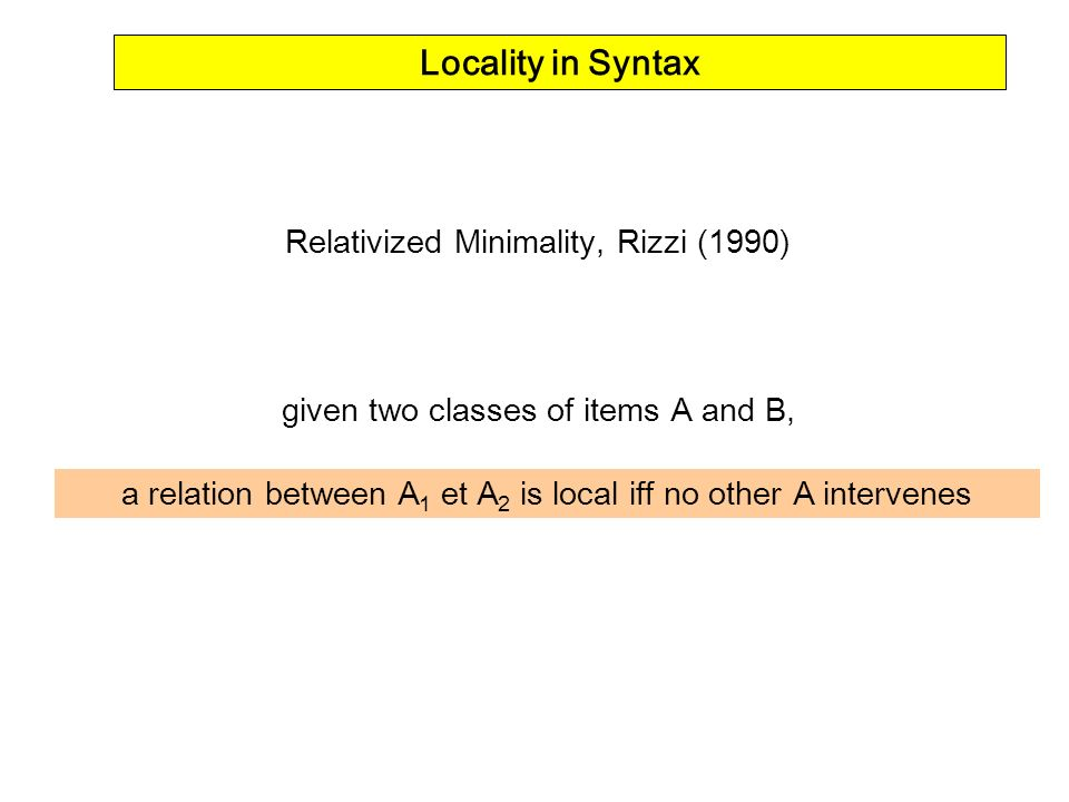 Locality in Syntax Relativized Minimality, Rizzi (1990)
