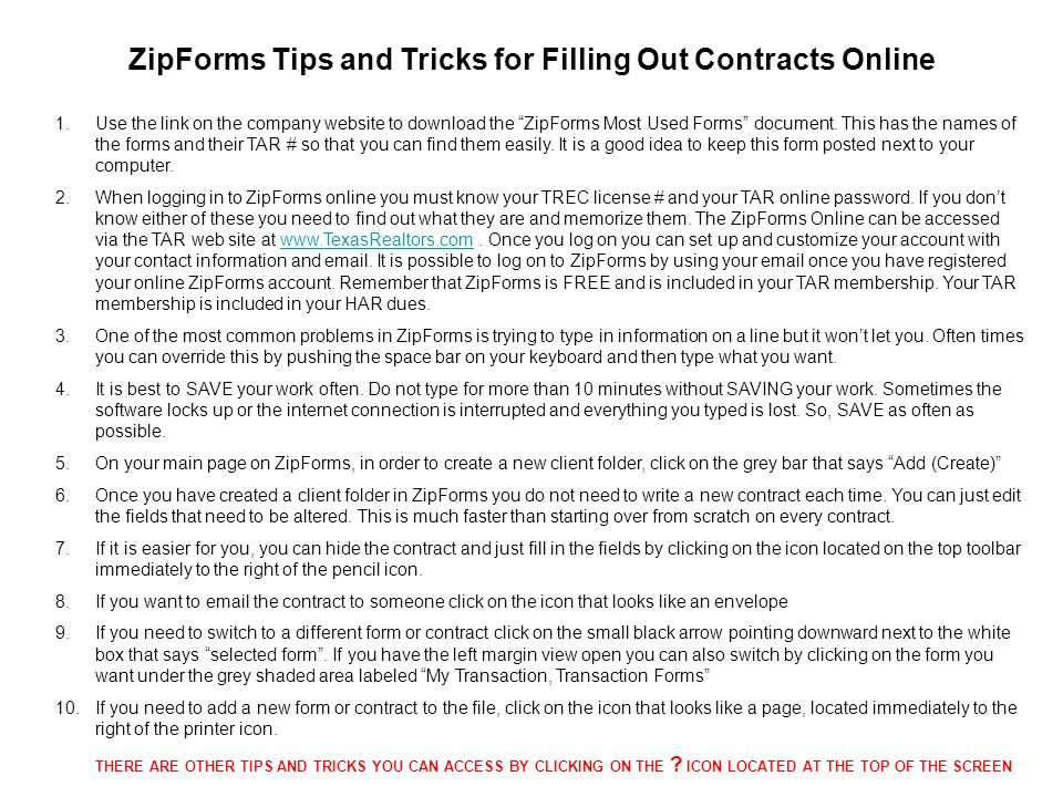 Filling out contracts correctly ppt download 17 zipforms pronofoot35fo Gallery