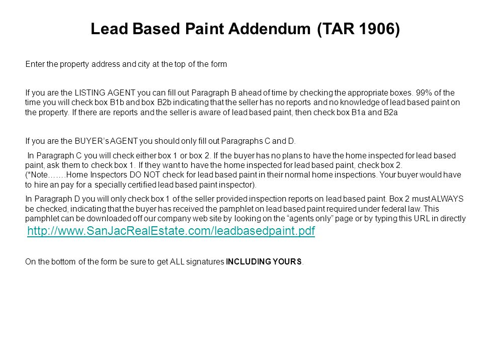 Filling out contracts correctly ppt download for Lead based paint inspection