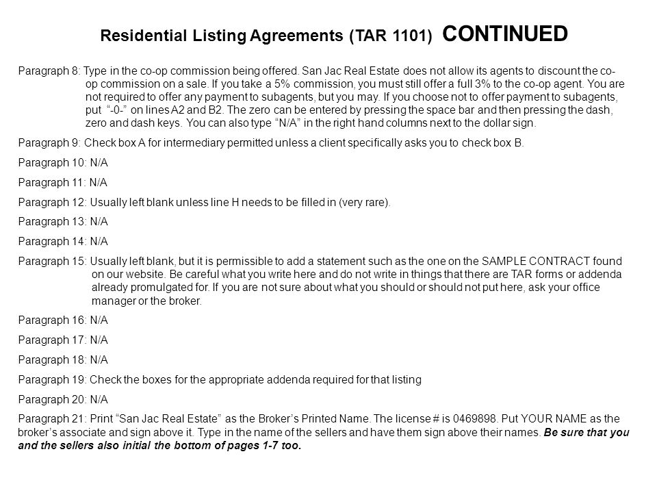 Filling out contracts correctly ppt download residential listing agreements tar 1101 continued platinumwayz