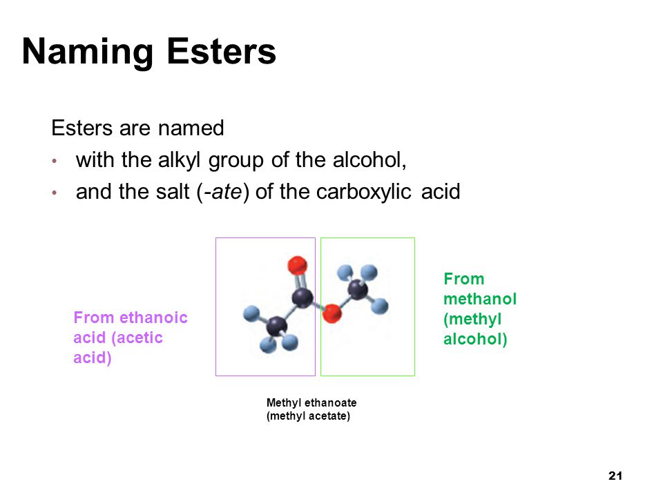 Naming Esters Esters are named with the alkyl group of the alcohol,