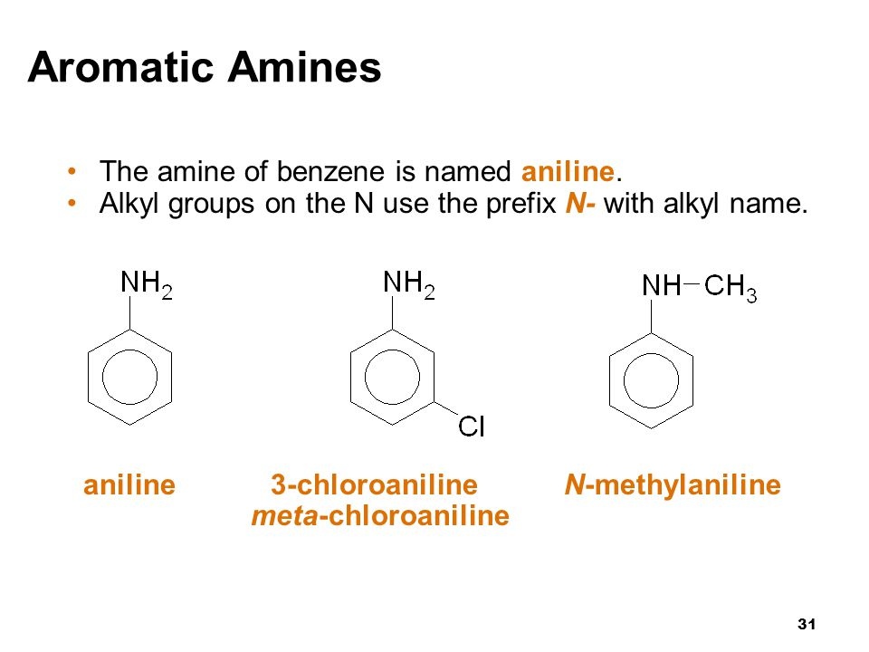 Aromatic Amines The amine of benzene is named aniline.