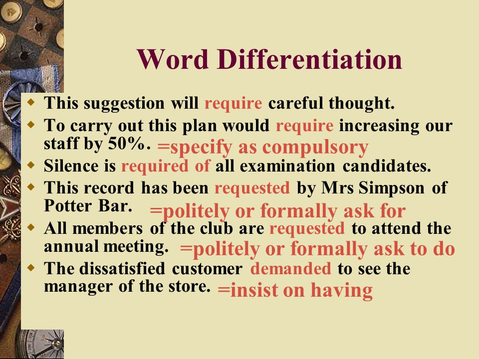 Word Differentiation =specify as compulsory