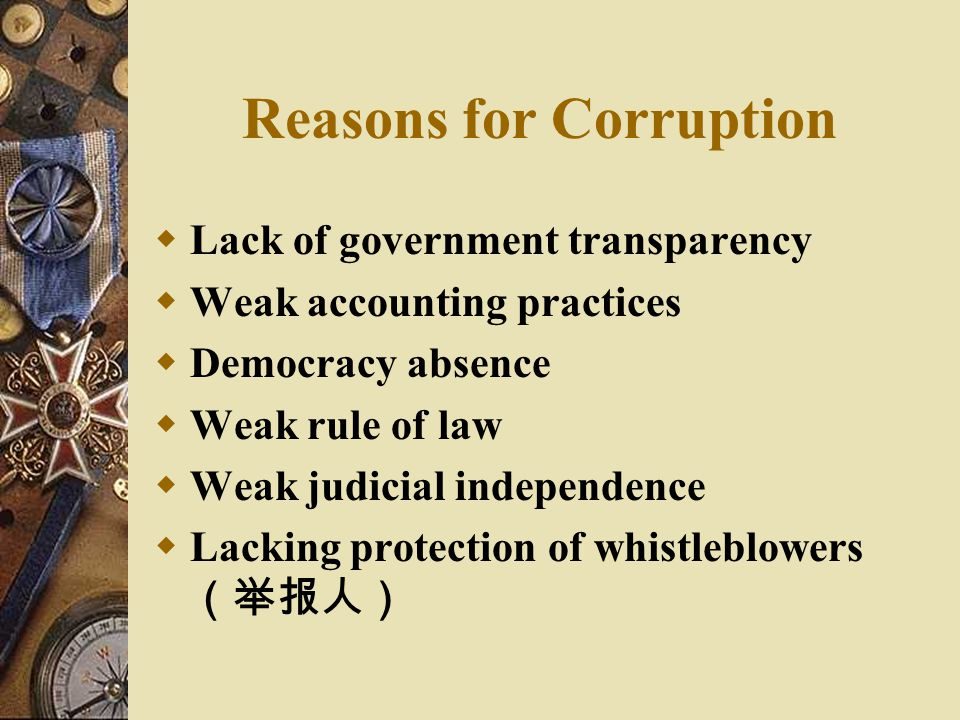 Reasons for Corruption