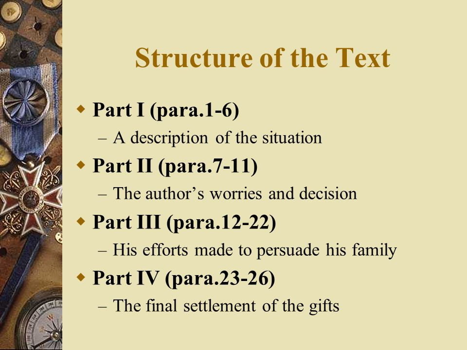 Structure of the Text Part I (para.1-6) Part II (para.7-11)
