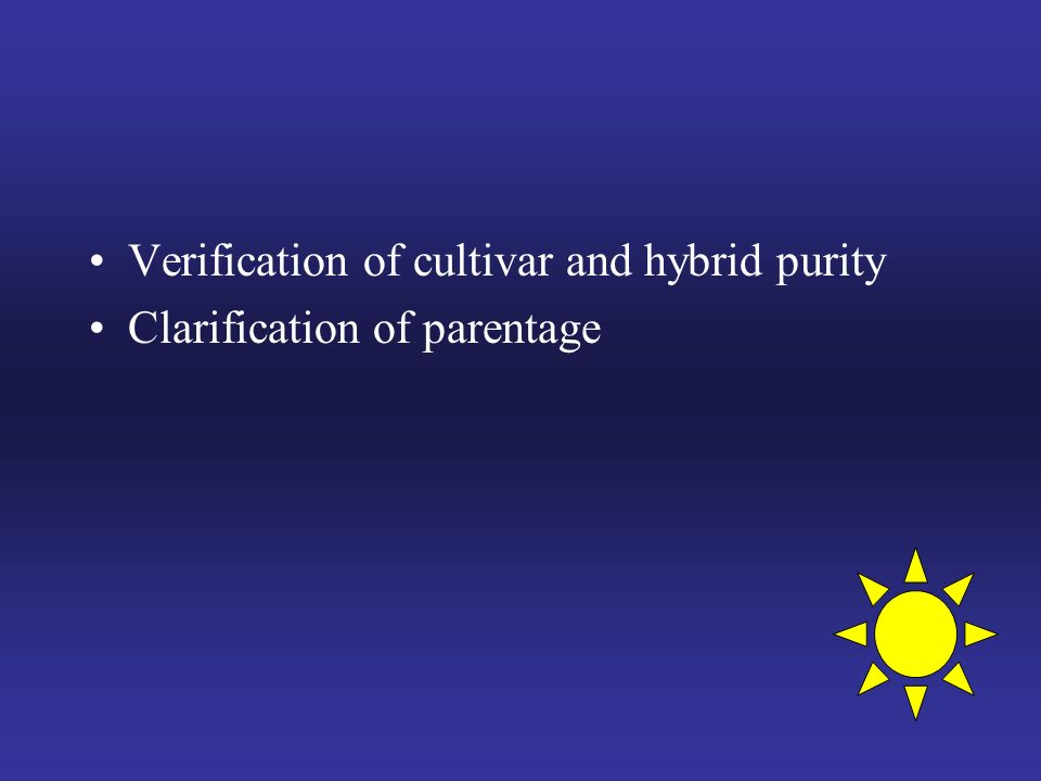 Verification of cultivar and hybrid purity