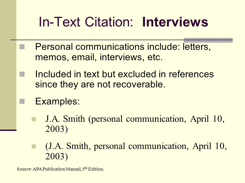 Apa citation interview online