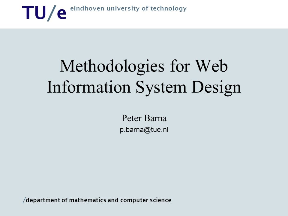 Methodologies for Web Information System Design