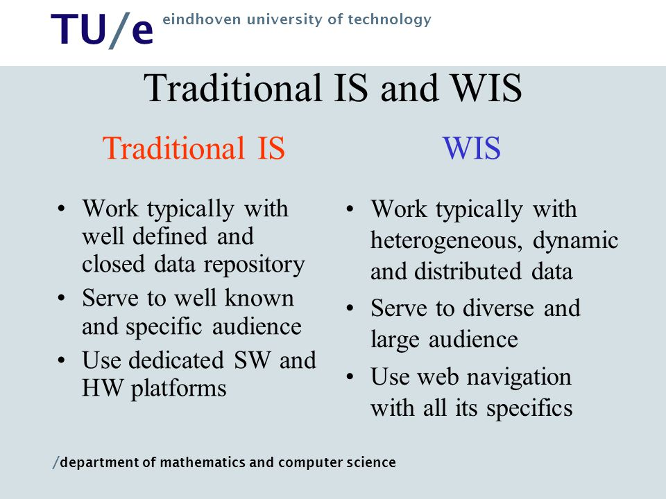 Traditional IS and WIS Traditional IS WIS