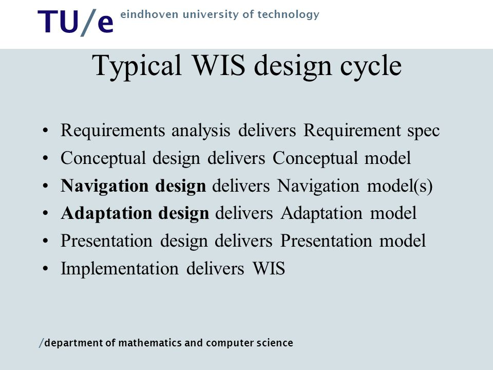 Typical WIS design cycle