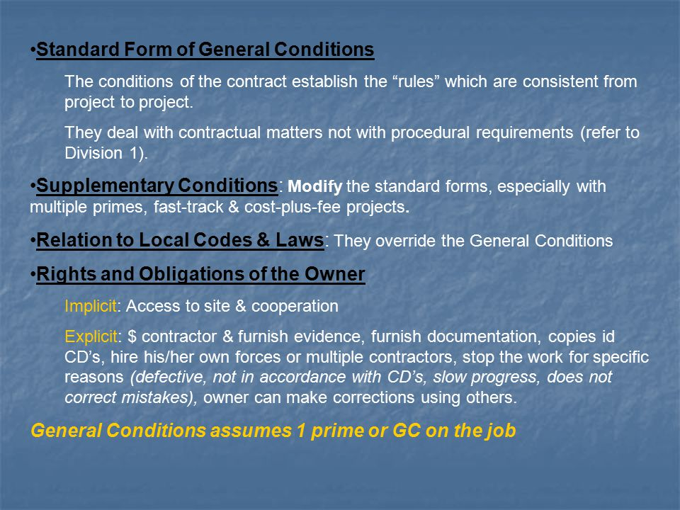 Conditions of the contract for construction ppt video for Cost plus a fee contract form for homebuilding