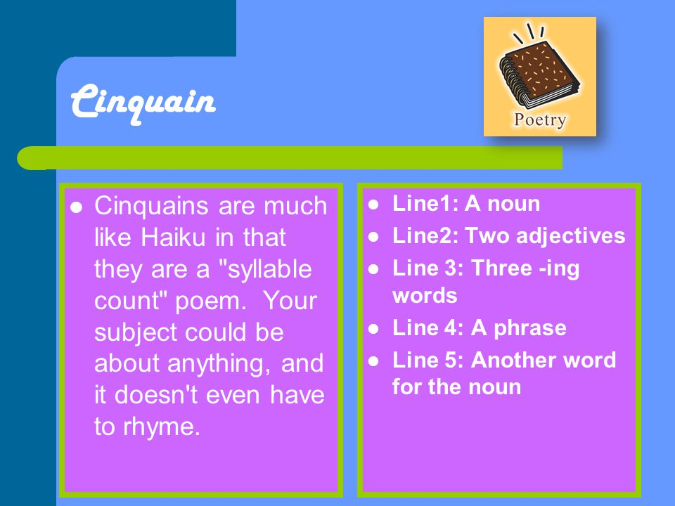 how to write a word count cinquain poems